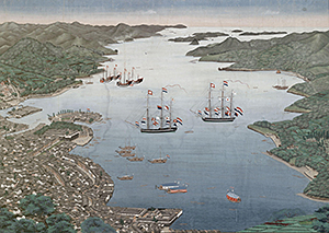 The bay of Nagasaki with the island of Deshima. Dutch painting from 1825.